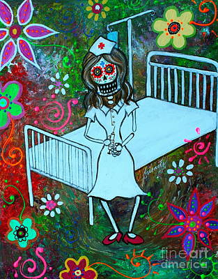 Dia De Los Muertos Enfermera Print by Pristine Cartera Turkus