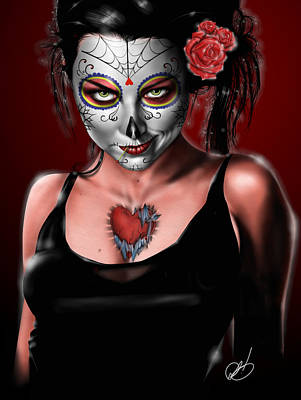 Pin Drawing - Dia De Los Muertos The Vapors by Pete Tapang