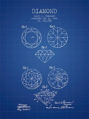 Diamond Patent From 1902 - Blueprint Print by Aged Pixel