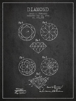 Diamond Patent From 1902 - Charcoal Print by Aged Pixel
