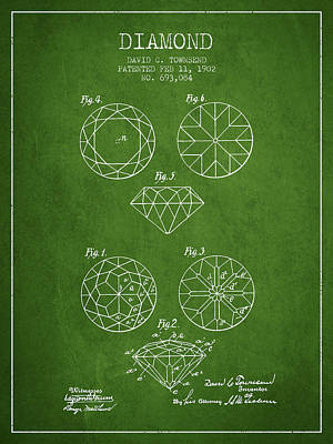 Diamond Patent From 1902 - Green Print by Aged Pixel