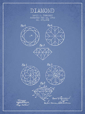 Diamond Patent From 1902 - Light Blue Print by Aged Pixel