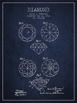 Diamond Patent From 1902 - Navy Blue Print by Aged Pixel
