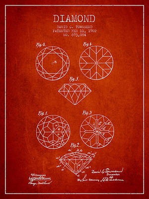 Brilliant Digital Art - Diamond Patent From 1902 - Red by Aged Pixel