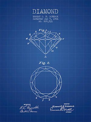 Diamond Patent From 1906 - Blueprint Print by Aged Pixel
