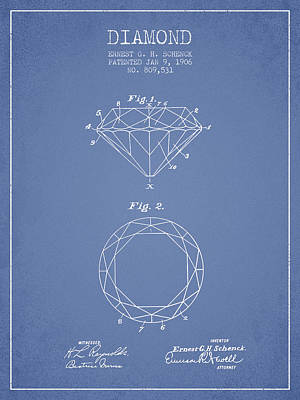 Diamond Patent From 1906 - Light Blue Print by Aged Pixel
