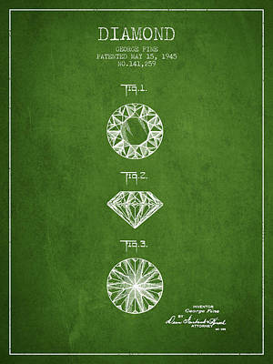 Diamond Patent From 1945 - Green Print by Aged Pixel