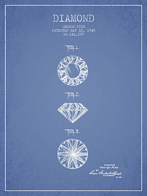 Diamond Patent From 1945 - Light Blue Print by Aged Pixel