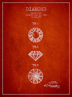 Cut Mixed Media - Diamond Patent From 1945 - Red by Aged Pixel