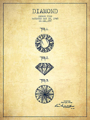 Cut Mixed Media - Diamond Patent From 1945 - Vintage by Aged Pixel