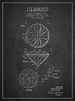 Diamond Patent From 1966- Charcoal Print by Aged Pixel