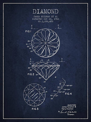 Diamond Patent From 1966- Navy Blue Print by Aged Pixel