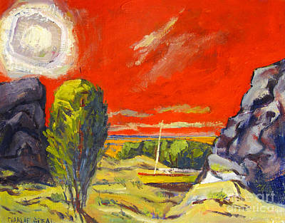Found Painting - Diamond Sun In A Crimson Sky by Charlie Spear