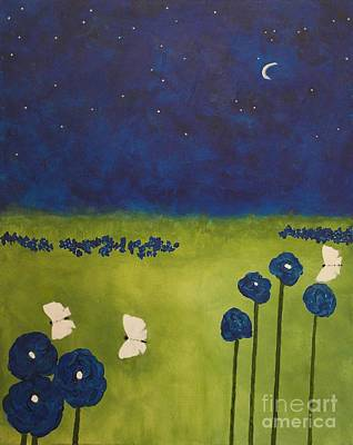 Drips Painting - Diamonds In A Sapphire Sky by Catalina Walker