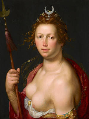 Cornelis Van Haarlem Painting - Diana As Goddess Of The Hunt by Cornelis van Haarlem