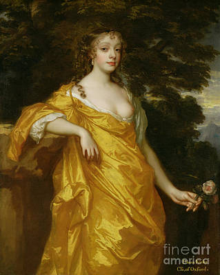 Dresses Painting - Diana Kirke-later Countess Of Oxford by Sir Peter Lely