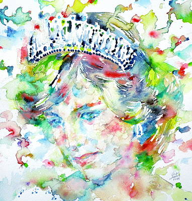 Diana - Princess Of Wales - Watercolor Portrait.1 Original by Fabrizio Cassetta