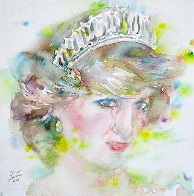 Diana - Princess Of Wales - Watercolor Portrait.2 Original by Fabrizio Cassetta