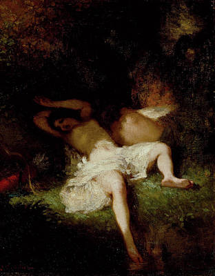 French Painting - Diana Resting by Jean-Francois Millet