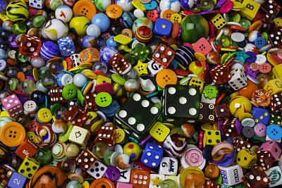 Dice Marbles With Buttons Print by Garry Gay