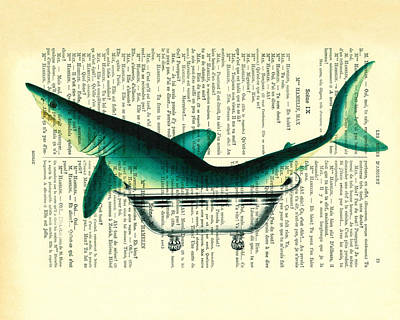 Shark In Bathtub Illustration On Dictionary Paper Print by Madame Memento