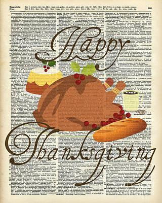 Vintage Digital Art - Dictionary Art - Thanksgiving Turkey by Jacob Kuch