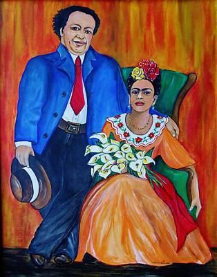 Diego Rivera And Frida Kahlo Portrait Original by Lois Rivera