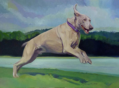 Dog In Lake Painting - Digby Jumps For Joy by L V Fry