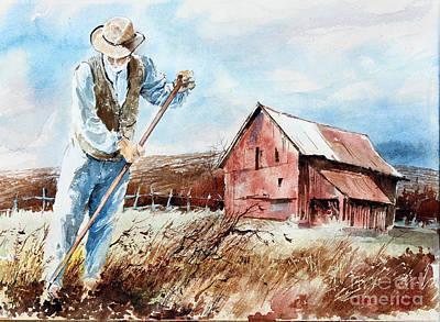 Digging Potatoes Original by Monte Toon