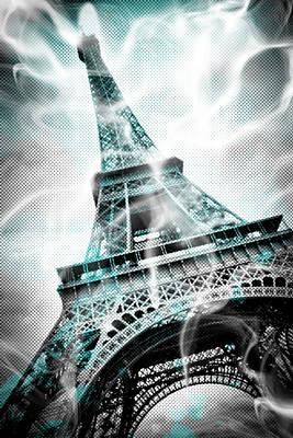 Digital-art Eiffel Tower Paris Print by Melanie Viola