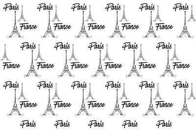Digital Art Eiffel Tower Pattern Print by Melanie Viola