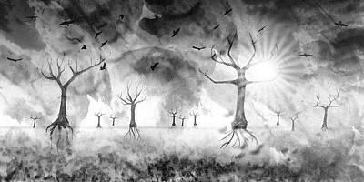 Digital-art Fantasy Landscape IIi Print by Melanie Viola