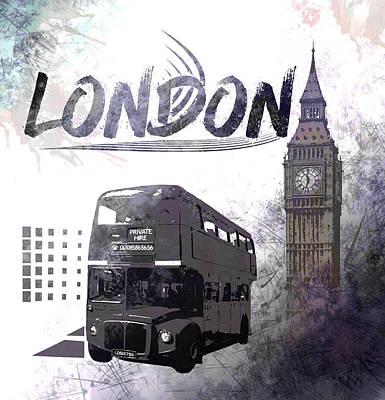 Digital-art London Composing Big Ben And Red Bus Print by Melanie Viola