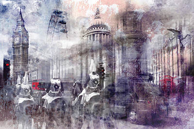 Digital-art London Composing II Print by Melanie Viola