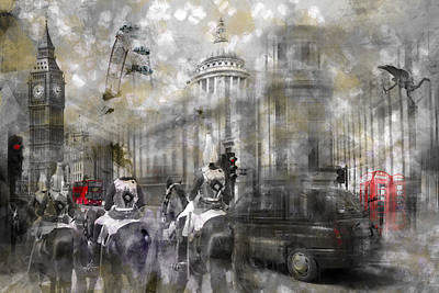 Digital-art London Composing IIi Print by Melanie Viola