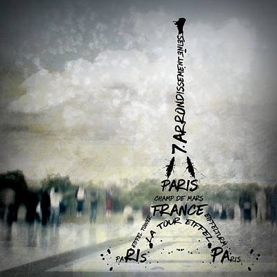 Digital-art Paris Eiffel Tower No.2 Print by Melanie Viola
