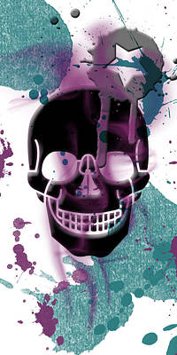 Painted Mixed Media - Digital-art Skull And Splashes Panoramic by Melanie Viola