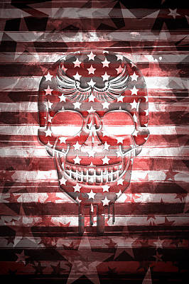 Flag Day Mixed Media - Digital-art Skull by Melanie Viola