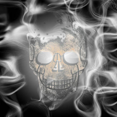Digital-art Smoke And Skull Print by Melanie Viola