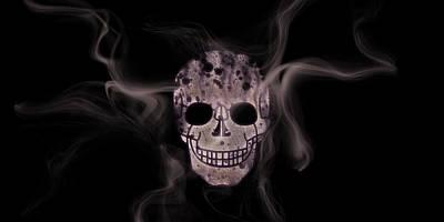 Digital-art Smoke And Skull Panoramic Print by Melanie Viola
