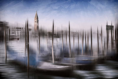 Digital-art Venice Grand Canal And St Mark's Campanile Print by Melanie Viola