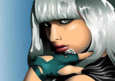Lady Ga Ga Digital Art - Digital Gaga by Matthew Cox