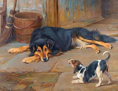 Wright Barker Painting - Dignity And Impudence by Wright Barker
