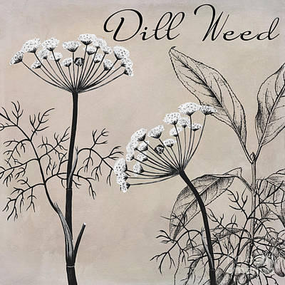 Spice Painting - Dill Weed Flowering Herb by Mindy Sommers