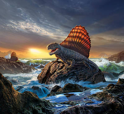 Prehistoric Digital Art - Dimetrodon by Jerry LoFaro