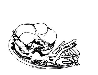 Still Life Drawing - Diner Drawing Charbroiled Chicken 2 by Chad Glass