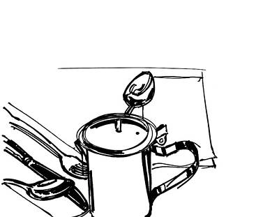 Great White Shark Drawing - Diner Drawing Creamer 2 by Chad Glass