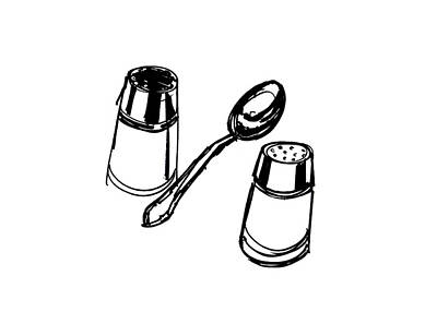 Still Life Drawing - Diner Drawing Salt, Pepper, And Spoon by Chad Glass