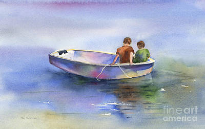 Row Boat Painting - Dinghy Conversation by Amy Kirkpatrick