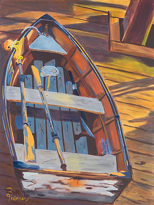 Dingy Painting - Dingy On The Dock by Barbara Pedersen